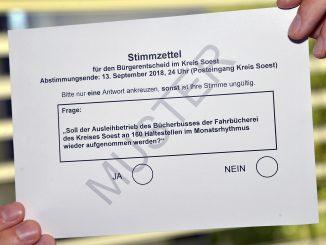 Muster - Stimmzettel Bürgerentscheid Bücherbus Kreis Soest